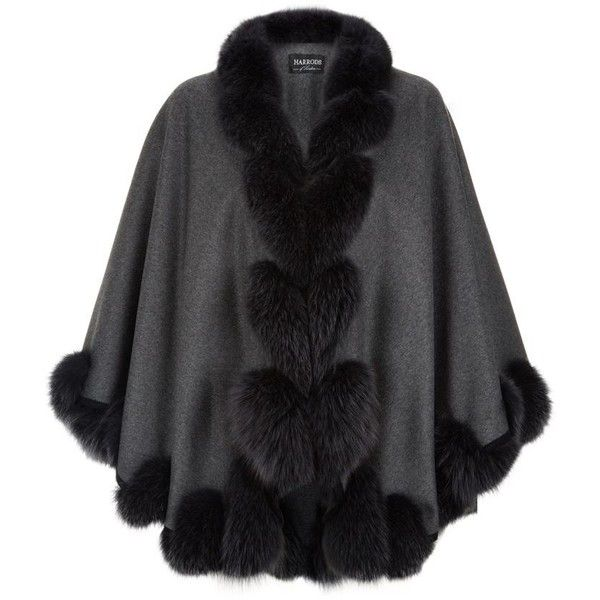 Harrods of London Fox Fur Spiral Trim Cape ($1,845) ❤ liked on Polyvore featuring outerwear, cape coat and fur trimmed cape
