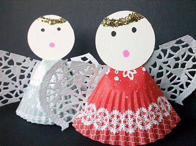 Paper Muffin Liner Angels. <--Shamelessly repinning my own craft. ;)