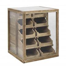 PHARMACY dresser w/drawers, glass/wood