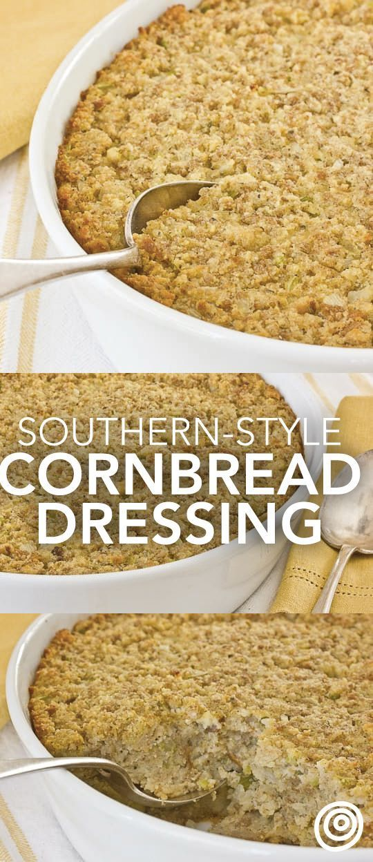 Southern Style Cornbread Dressing Recipe. This is one of those classic side dishes and recipes that Christmas and Thanksgiving just aren't complete without! Start with homemade buttermilk cornbread, then move on to the stuffing! Everyone will love this side dish. | https://lomejordelaweb.es/