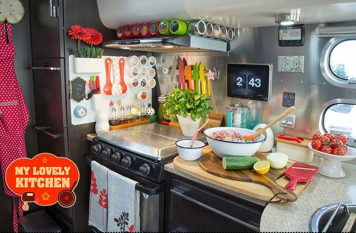 My Lovely Airstream Kitchen  Airstream Trailer | Airstream Kitchen | RV Kitchen | Cute Kitchens | Tiny Kitchen | Small Space Living