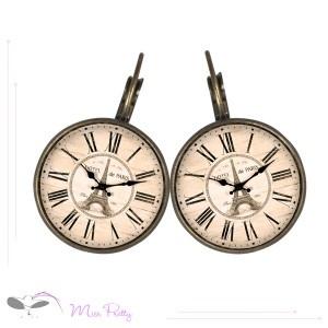 HORLOGE DE PARIS - cabochon earrings - boucles d'oreilles cabochons. Cabochons :: brass :: laiton :: glass :: verre :: retro :: vintage :: Tour Eiffel :: Eiffel tower :: clock