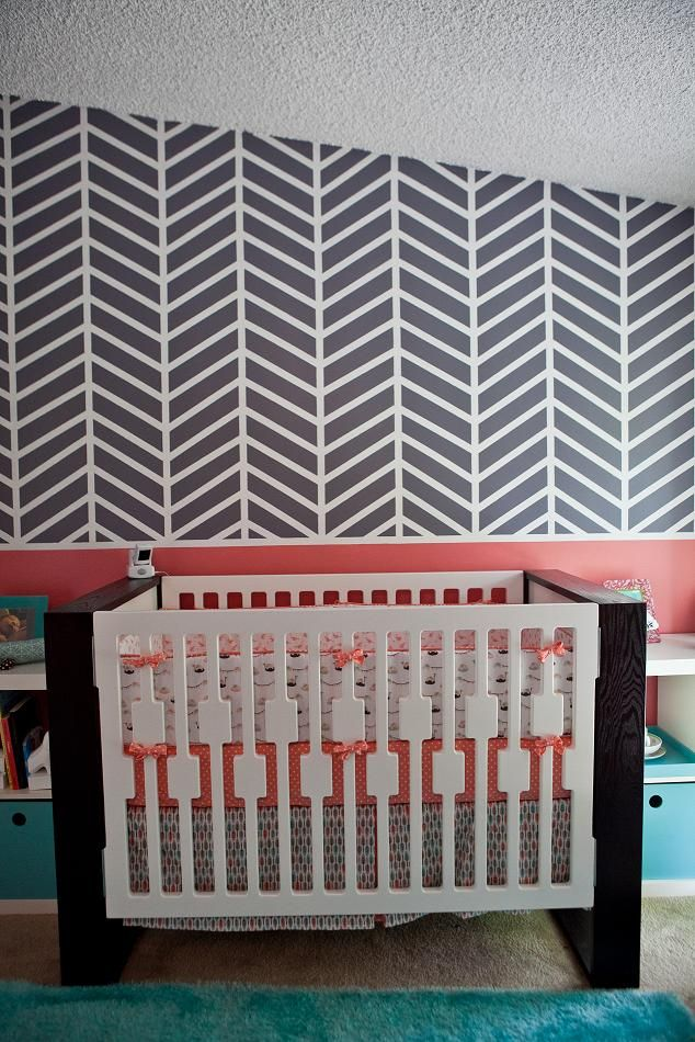 This @Nursery Works crib is so mod!: Paintings Job, Closet Doors, Chevron Paintings Wall, Cribs Ideas, Wall Treatments, Chevron Wall, Herringbone Wall, Coral Accent, Accent Wall