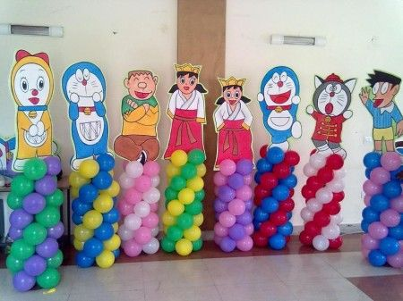 Doraemon Party Balloon Pillars And Character Cutouts