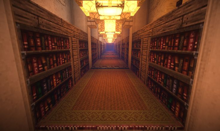 Minecraft Foyer Ideas : Library bookshelf bookshelves hallway arabic pattern