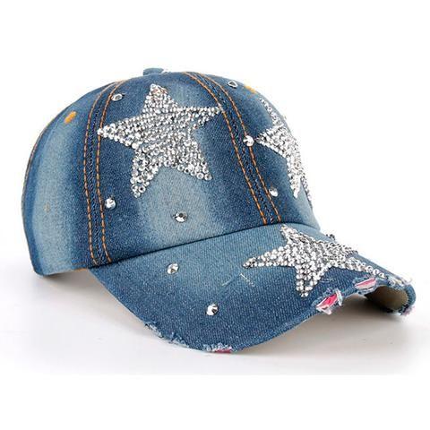Denim Rhinestone Studded Hat · Snapback CapBaseball CapsHip ... 71df029769fd