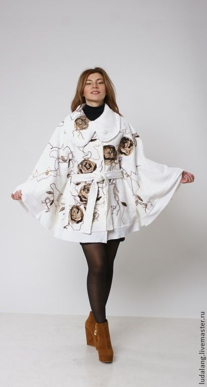 """Пончо ручной работы. Ярмарка Мастеров - ручная работа. Купить Пончо """"Чайная роза"""". Handmade. Белый, валяное пальто"""