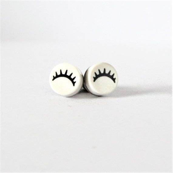 Funny Earrings Studs-Earrings for Teens-Eyelash Earrings-Round Earrings-Funny Jewelry-From LEGO® Bricks-Geek Birthday Gift-Unique Earrings
