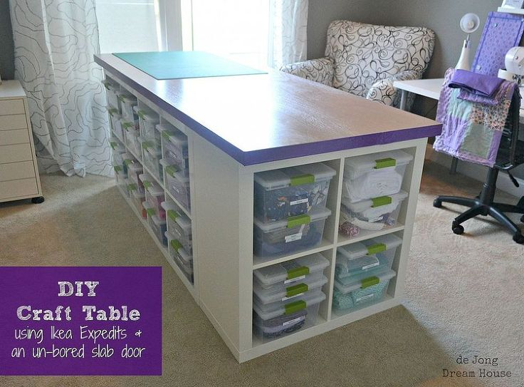 Jen   de Jong Dream House's discussion on Hometalk. DIY Craft Table - Craft table made of Ikea Expedits, an un-bored slab door, and Sterilite clip boxes. Lots of storage and room to work.