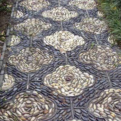 patterned cobblestone walkway