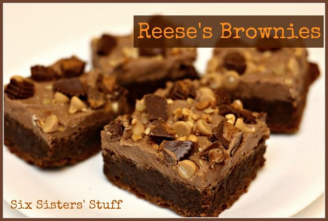 Reese's Brownies- one word: AMAZING! Peanut butter is mixed in with the brownie batter. So good! SixSistersStuff.com #peanutbutter #chocolate #brownies