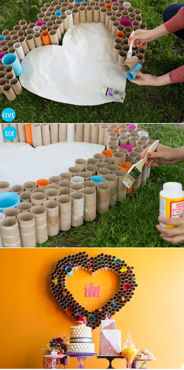 "DIY Toilet Paper Tube Heart...the worst. Just the worst. And look how many tubes there are?!? This DIY nonsense with TP tubes has got to stop!! Sometimes I really hate Pinterest for encouraging this crap! ""Look at my pretty desert table! Oh, and my garbage wreath too!"""