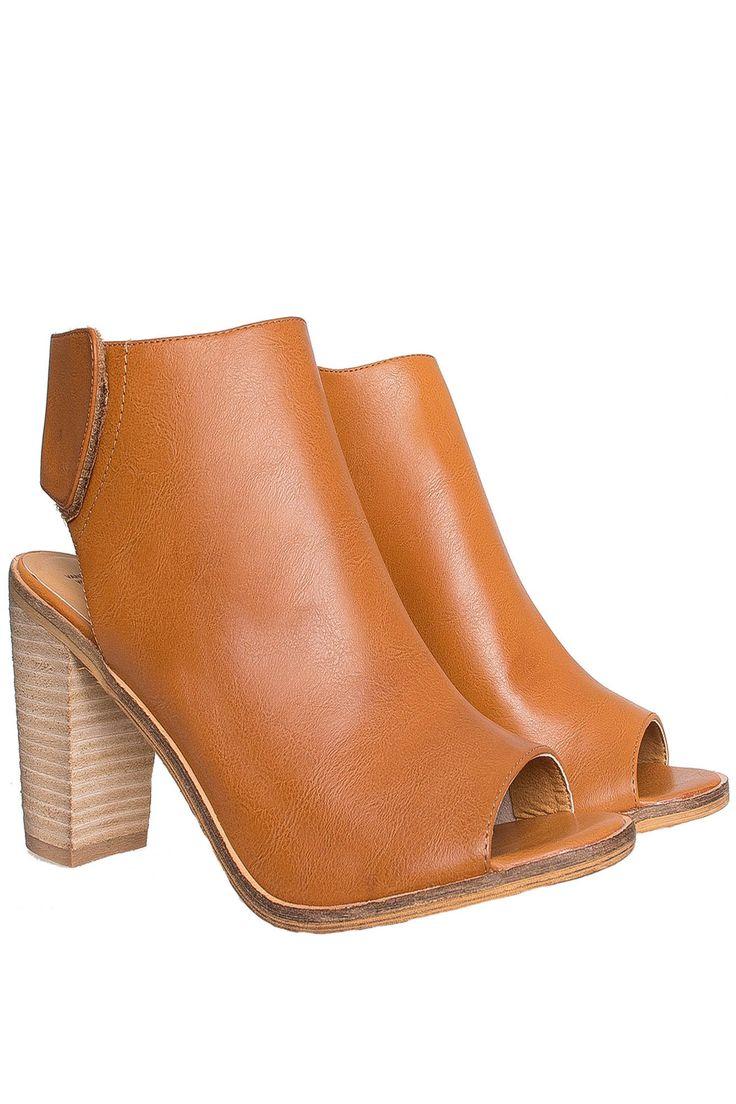 Botines de punta abierta camel Warren - Shoes - Sale