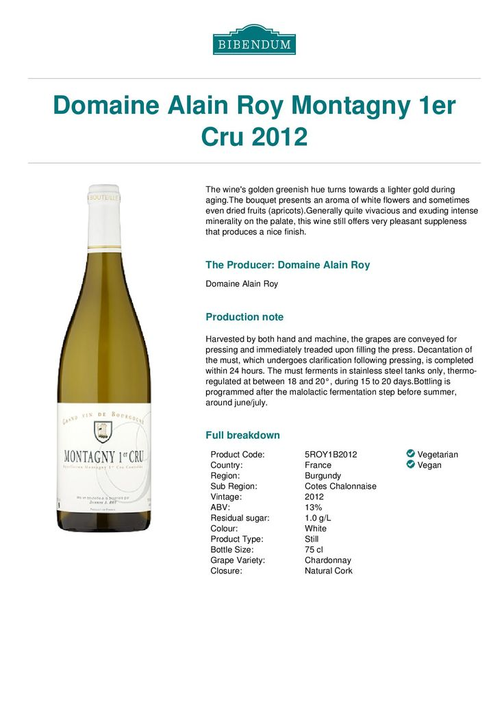 2012 Alain Roy 1er Cru Chardonnay. Had it as a Special Wine of April 2015. Very nice. 89/100