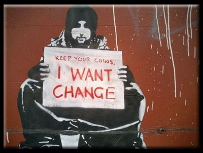Powerful work by Banksy, the infamous graffiti artist and activist. First work of his I ever came across.