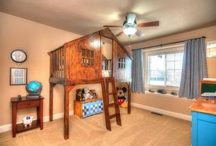 Eclectic Kids Bedroom with Carpet, Ceiling fan, Winsome shaker 1 drawer nightstand, Kids Tree Fort Loft Bed, Art desk