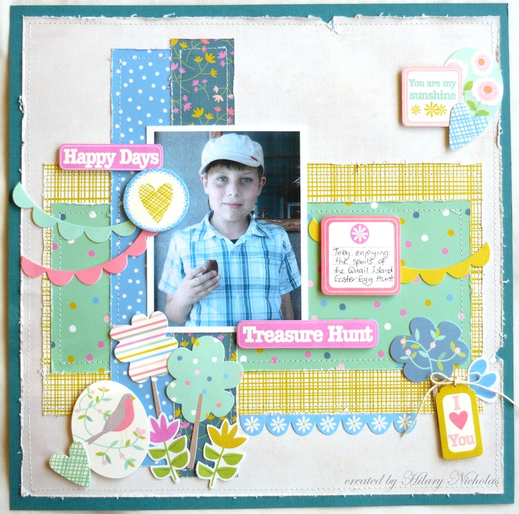 """""""Treasure Hunt"""" a layout kit created with Kaisercraft's Suga Pop collection, by Hilary Nicholas"""