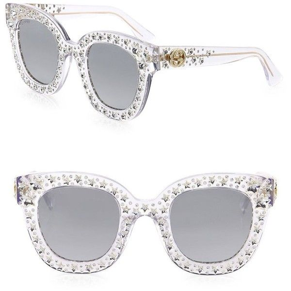 Gucci Oversize Crystal Star Mirrored Square Sunglasses ( 1,035) ❤ liked on  Polyvore featuring accessories, eyewear, sunglasse… 0f5bfece29