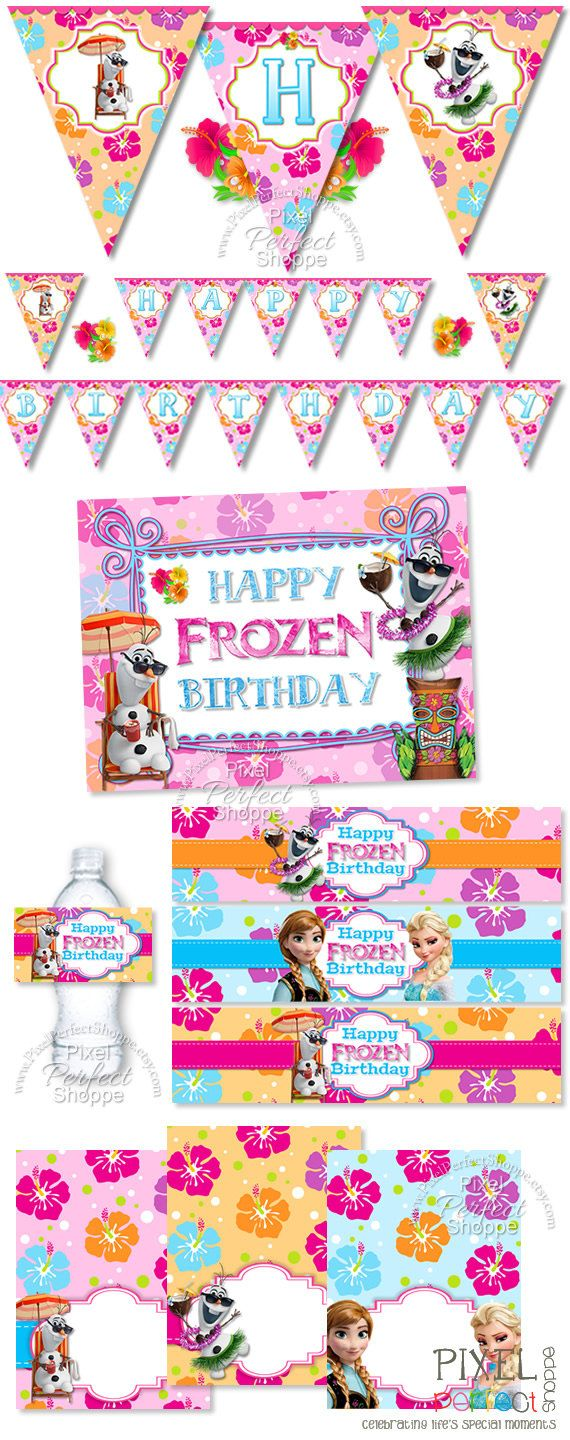 Frozen birthday party coloring pages - Frozen Summer Party Pack Frozen Party By Pixelperfectshoppe