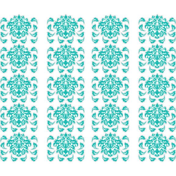 Teal damask peel and stick decals wall sticker outlet for Teal peel and stick wallpaper