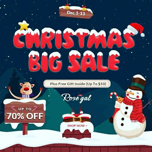 1. up to 70% off  2. Draw a coupon with a big discount  3. free shipping worldwide all time  4. Deals from $0.01 Dec.14-25  Use coupon:rosegal20  (coupon with a large discount - 20% on all products)  Click&buy:http://bit.ly/ChristmasSalesDeals2017