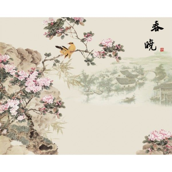 décoration d'intérieur tapisserie numérique sur mesure style asiatique paysage avec les fleurs de cerisier et les oiseaux