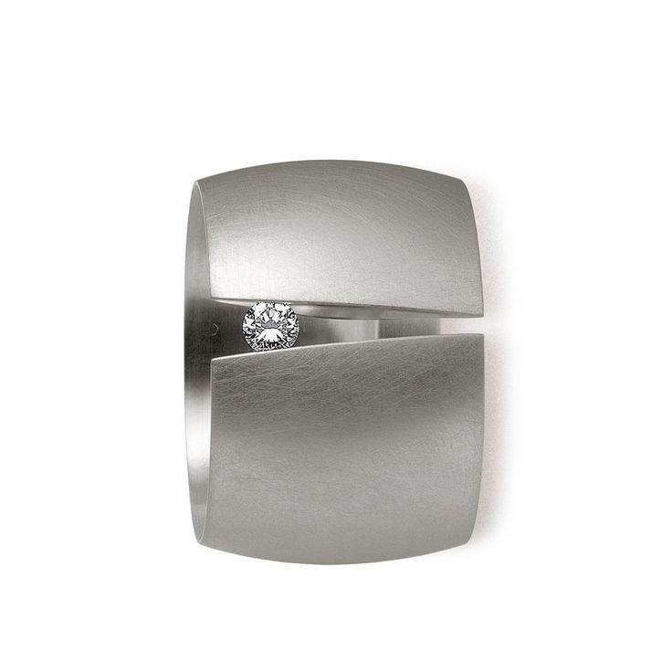 Niessing - Tension Ring - Steel & Diamond B18 Ring - ORRO Contemporary Jewellery Glasgow - www.orro.co.uk