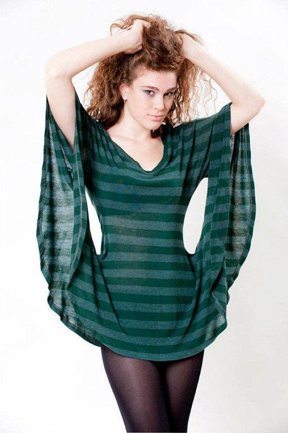 Women Tunic Eyelet Tunic Kimono Sweatshirt Striped Tunic by TADSON, $59.00