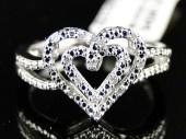 NEW LADIES WHITE GOLD FINISH DIAMOND WEDDING ENGAGEMENT PROMISE LOVE HEART RING
