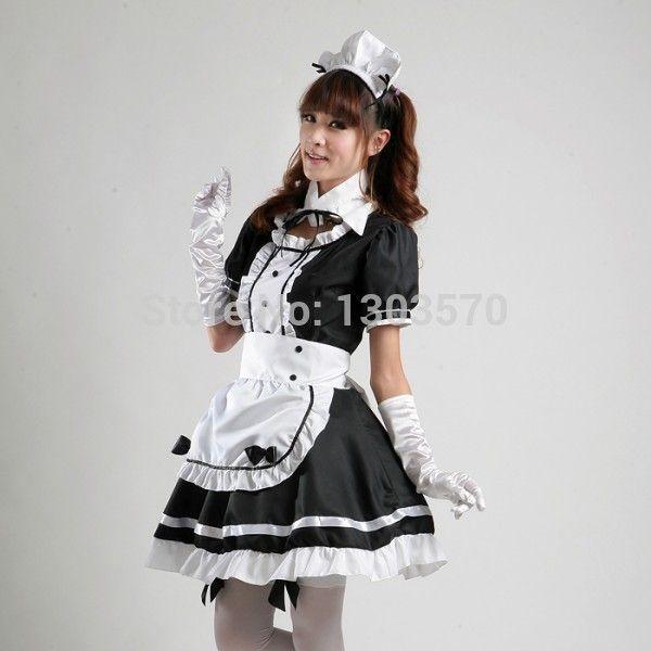 Черный японского аниме горничной косплей карнавальные костюмы для хэллоуина ну вечеринку