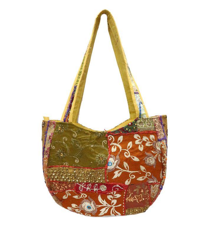 Embroidered Vintage Hippie Bags Indian Handmade Patchwork Ethnic Shoulder Bag #Handmade #ShoulderBags