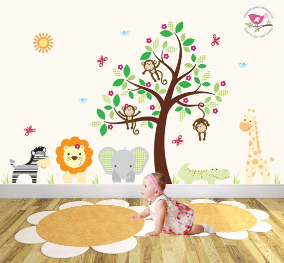 Jungle Wall Decal Featuring Friendly Safari Animals And Swinging Monkeys, Baby  Wall Stickers, Nursery Wall Decal Tree Part 64