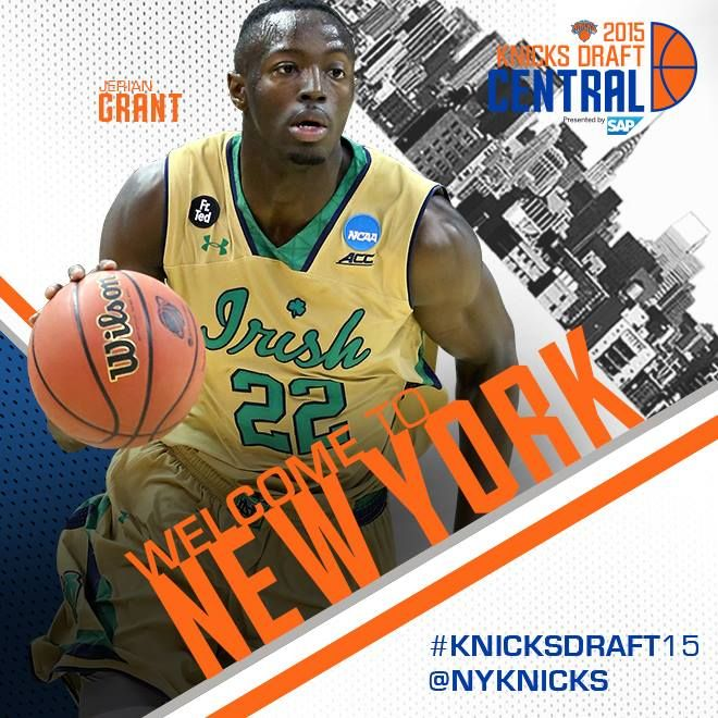via New York Knicks on Facebook 20150625 - The #Knicks have traded for Notre Dame Men's Basketball guard Jerian Grant! #KnicksDraft15