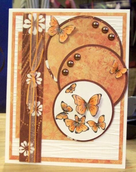 A cute way to use my circle punches.: Layout Ideas, Cute Cards, Fall Colors, Circle Punch, Pretty Cards, Greeting Cards, Sketch Challenge, Butterflies Cards, Circles Punch