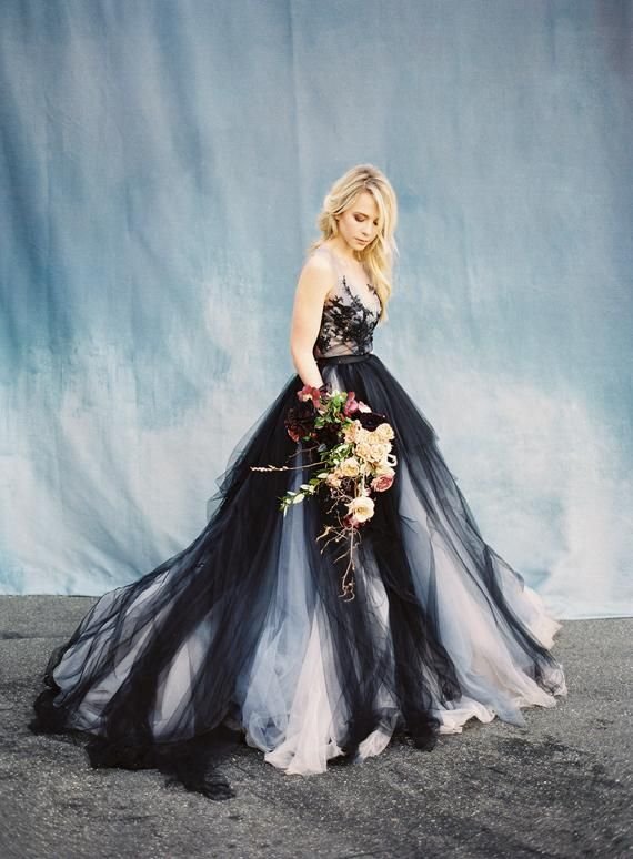 Black Lace Wedding Dress Calypso Nightfall Tulle Bridal Gown