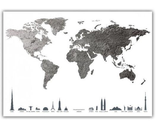 Frank&Poppy Poster Världskarta Grå
