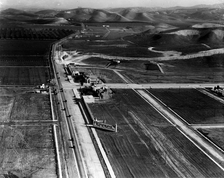 1920s - View looking east on Ventura Boulevard. This is the intersection of today's Ventura Boulevard (foreground) and Topanga Canyon Boulevard, in the real estate development of Girard.