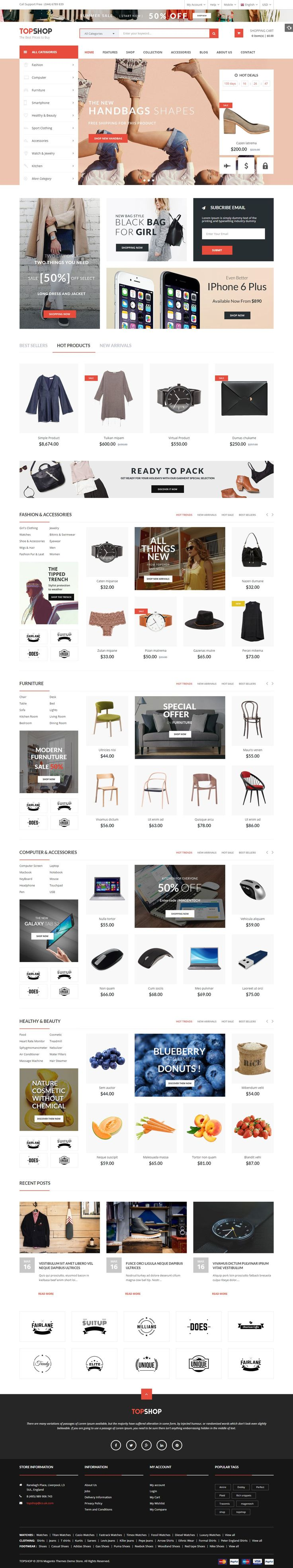 The beautiful theme designed with modern style trend, clear layout and supports lots of powerful features: Image Slider, Mega Menu, Ajax Layered Navigation, Ajax Cart helps customers purchase more quickly, multi-language, multi-currency, brands slider and product hover effects.#magento #eCommerce #fashion #store