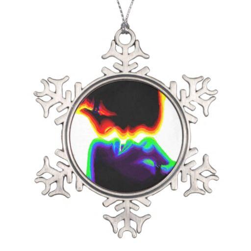 The kiss snowflake pewter christmas ornament