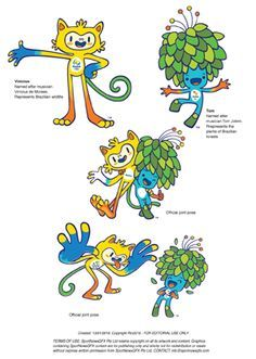 OLYMPICS-RIO-MASCOTS - Vector illustrations of the Rio 2016 Olympic mascots #Rio #infographic #graphicdesign Static vector EPS Freesize