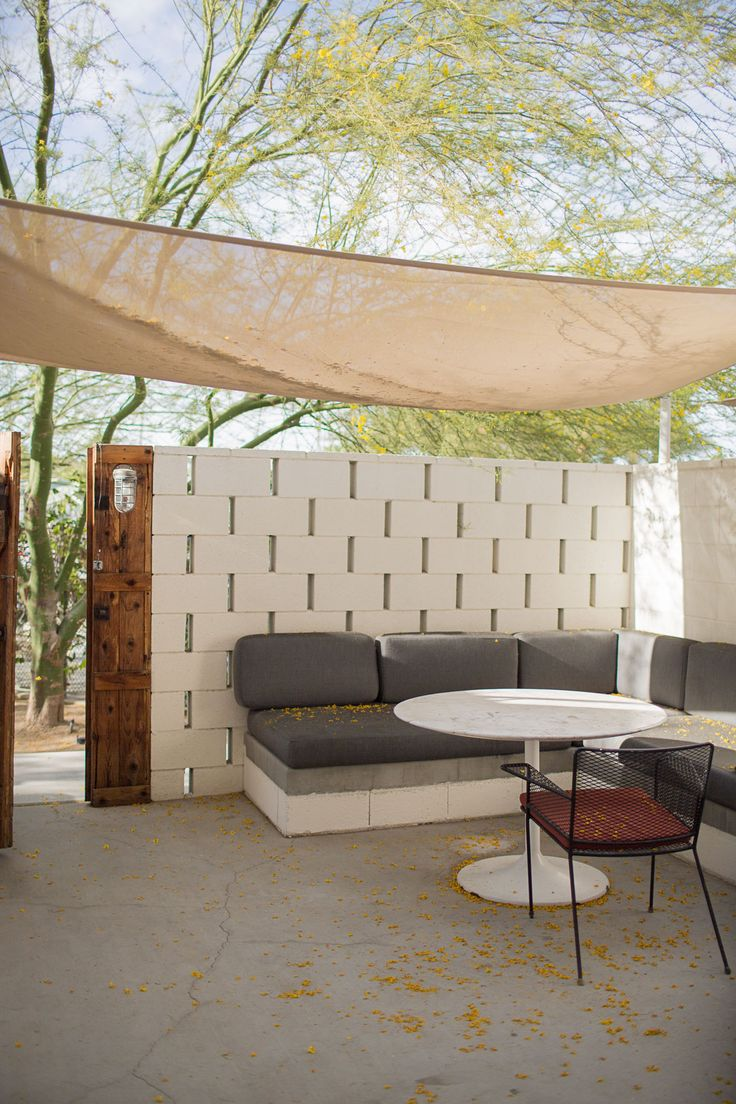 Ace Hotel Palm Springs Patio Cinder Block Walls Ace