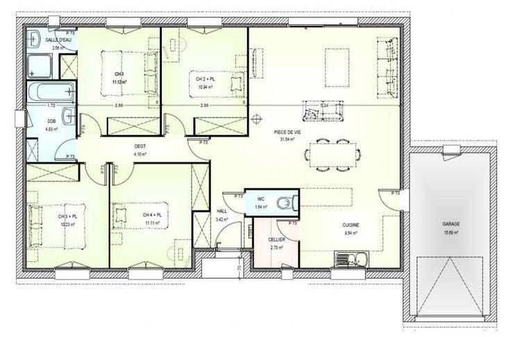 38 best distribution design images on Pinterest Floor plans, House - modele plan maison plain pied gratuit