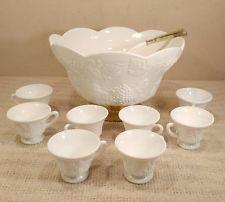 Vintage Milk Glass Grape Themed Punch Bowl Set - Brass Base - 8 Cups - COOL!