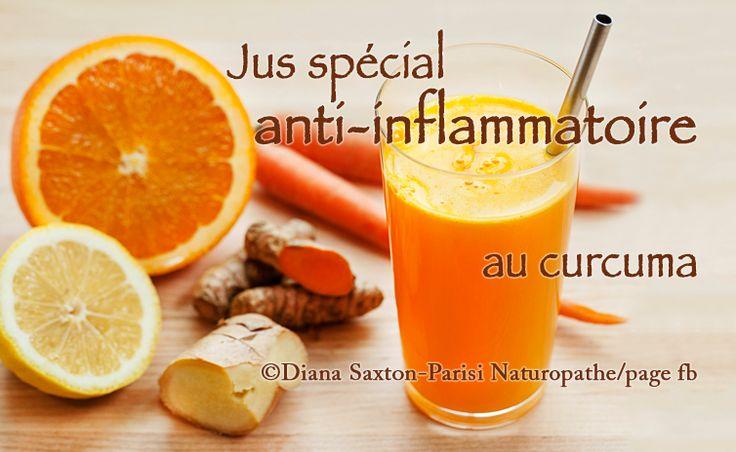 Jus spécial anti-inflammatoire au curcuma La recette: - un morceau (large) de curcuma frais (10 à 15 cm) - un morceau (large) de gingembre frais (5 à 8 cm) - 5 carottes - 2 citrons - 1 orange - 1 concombre - 1/4 de c.à s. de poivre de cayenne - 1/4 de c. à s. de basilic sacré en poudre (ou 2 c.à s. de basilic frais) Passer tous les ingrédients dans l'extracteur de jus et saupoudrer avec le poivre de cayenne et le basilic à la fin