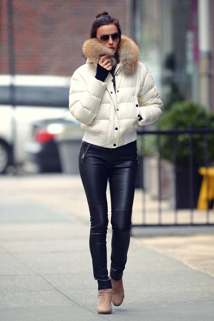 Irina Shayk out in New York #leatherpants #leatherskinnypants