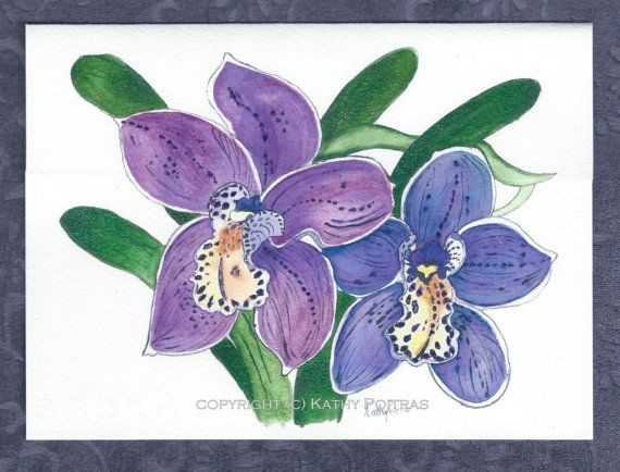 Greeting Card purple orchids on watercolor paper by PiskyArt