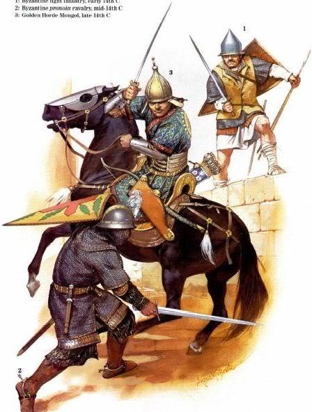Angus McBride - Guerreros bizantinos y mongol de la Horda Dorada (Siglo XIV)