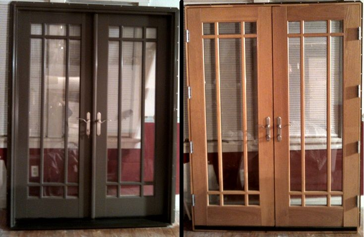 found this beautiful set of french doors on craigslist to replace the two windows in my dining