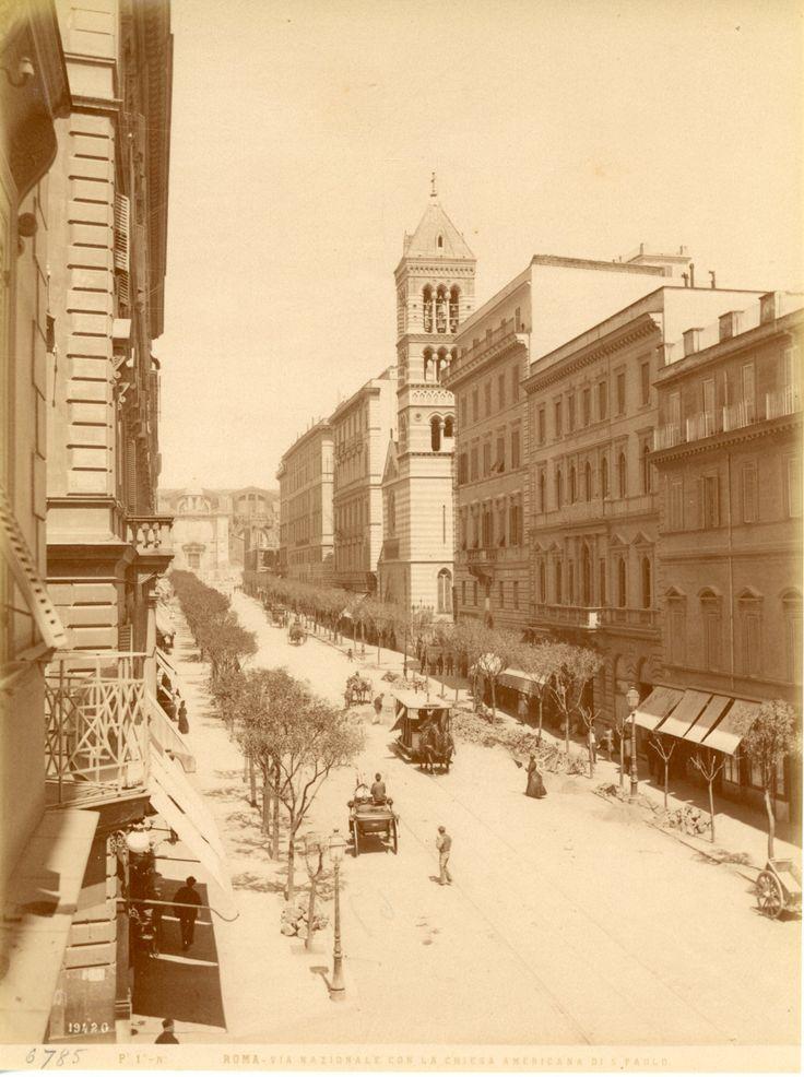 Italie, Roma, Via Nazionale con la Chiesa di S. Paolo     [MN7740] Catégorie : Europe > Italia > Rome, Roma   Année : Circa 1875