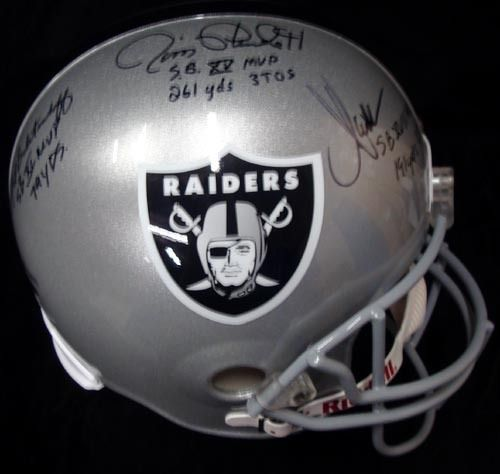 Raiders SB MVP's Autographed Oakland Raiders Full Size Helmet With Stats